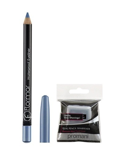 Flormar Flormar Waterproof Mavi Eyeliner No:109 +Promani 2 Delikli Kalemtıraş Renkli
